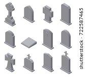 set of gravestones isolated on... | Shutterstock .eps vector #722587465