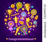 poster with different prizes... | Shutterstock .eps vector #722595715