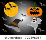 halloween silhouettes.hat witch ... | Shutterstock .eps vector #722596057
