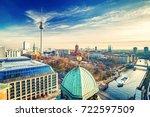 Stock photo aerial view on alexanderplatz and spree river berlin germany 722597509