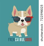 Stock vector dog breed french bulldog puppy wearing glasses in the colors of the french flag 722598025