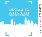welcome to austin skyline city... | Shutterstock .eps vector #722598199