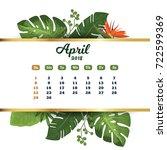 april 2018. tropical printable... | Shutterstock .eps vector #722599369