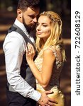 stylish couple of happy... | Shutterstock . vector #722608129