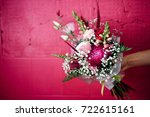 bouquet of  flowers with sweets | Shutterstock . vector #722615161