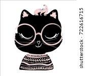 cute cat vector.t shirt print...   Shutterstock .eps vector #722616715