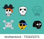 different style skulls faces... | Shutterstock .eps vector #722622271