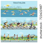 triathlon marathon sport... | Shutterstock .eps vector #722622487