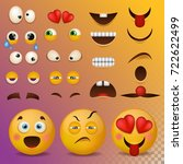 yellow smiley face character... | Shutterstock .eps vector #722622499