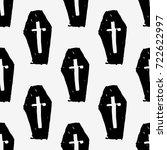 cross on coffin. dead man in... | Shutterstock .eps vector #722622997