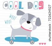cute skateboarding dog vector... | Shutterstock .eps vector #722624527