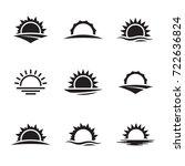 vector black sunrise icon set | Shutterstock .eps vector #722636824