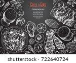 grill and bar menu design... | Shutterstock .eps vector #722640724