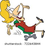 cartoon woman leaning back... | Shutterstock .eps vector #722643844