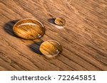 three water beads on finished... | Shutterstock . vector #722645851