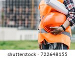 close up of woman engineer with ... | Shutterstock . vector #722648155