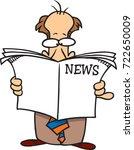 cartoon man reading a newspaper | Shutterstock .eps vector #722650009
