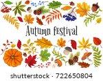 autumn festival   leaves frame  ... | Shutterstock .eps vector #722650804