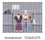 criminals in cell at police... | Shutterstock .eps vector #722651275