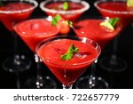 glasses of delicious strawberry ... | Shutterstock . vector #722657779