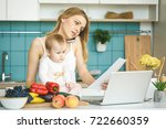 young mother is working home.... | Shutterstock . vector #722660359