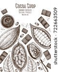 cocoa products frame vector... | Shutterstock .eps vector #722663509