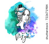 virgo. zodiac signs girl | Shutterstock .eps vector #722671984