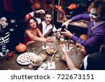 halloween party. the guy in the ... | Shutterstock . vector #722673151