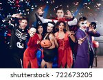 halloween party. six friends in ... | Shutterstock . vector #722673205