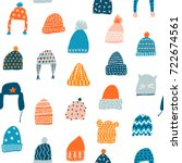 knitted hats seamless pattern... | Shutterstock .eps vector #722674561
