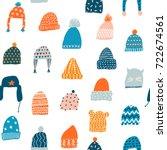 knitted hats seamless pattern... | Shutterstock .eps vector #722674561
