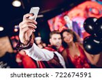 a guy dressed as a vampire and...   Shutterstock . vector #722674591
