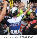 Small photo of Bergen, Norway - September 24, 2017 - Slovakian cyclist Peter Sagan celebrates with Slovak fans in Bergen, Norway after winning a record third consecutive UCI world professional cycling road race.