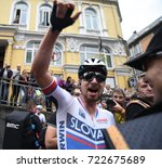 Small photo of Bergen, Norway - September 24, 2017 - Slovakian cyclist Peter Sagan celebrates in Bergen, Norway after winning a record third consecutive UCI world professional cycling road race.