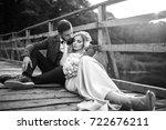 stylish couple of happy... | Shutterstock . vector #722676211