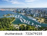 Stock photo aerial image of stanley park coal harbor and vancouver bc canada 722679235