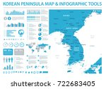 korean peninsula map   detailed ... | Shutterstock .eps vector #722683405