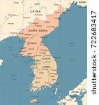 korean peninsula map   vintage...   Shutterstock .eps vector #722683417