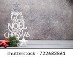 christmas greeting card  retro... | Shutterstock . vector #722683861