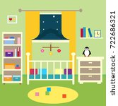 baby room illustration flat... | Shutterstock .eps vector #722686321