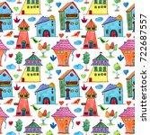 watercolor baby seamless... | Shutterstock . vector #722687557