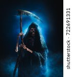 grim reaper with scythe on a... | Shutterstock . vector #722691331