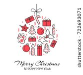 christmas and new year banner... | Shutterstock .eps vector #722693071