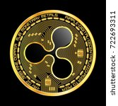 crypto currency golden coin...   Shutterstock .eps vector #722693311