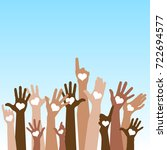 group of raising hands with... | Shutterstock .eps vector #722694577