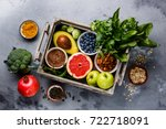 healthy food clean eating... | Shutterstock . vector #722718091