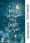 vertical merry christmas and... | Shutterstock .eps vector #722718445