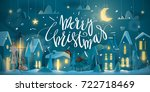 horizontal merry christmas card ... | Shutterstock .eps vector #722718469