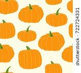 hand drawn orange pumpkin... | Shutterstock .eps vector #722724331