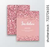 Stock vector chic sparkle invitation cards with rose gold sequins for events 722726101